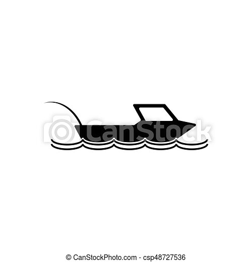 Fishing boat icon. Silhouette vector illustration - csp48727536