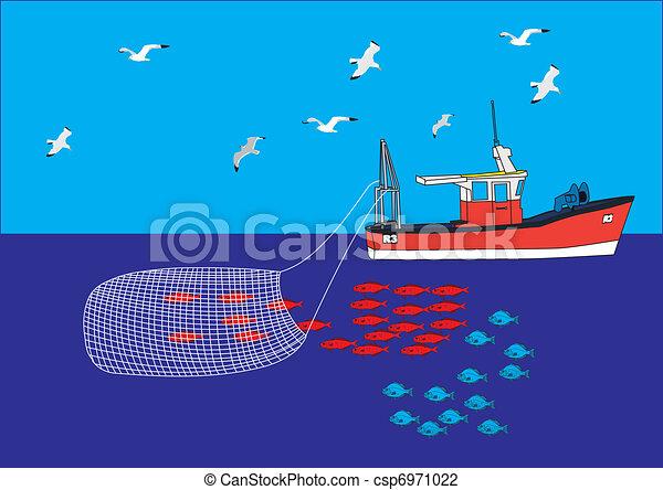 Fishing boat trawler net catch guls sea.