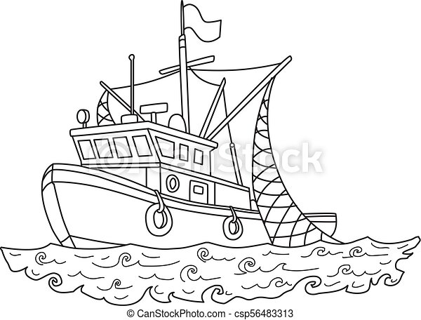 Fishing Boat In The Sea Contour Vector Illustration For Coloring Book Isolated On White Fishing Boat In The Sea Contour