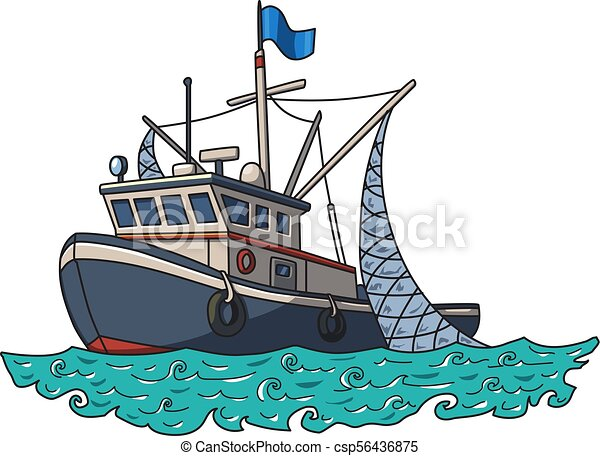 Fishing Boat In The Sea Vector Illustration Isolated On White Background Fishing Boat In The Sea Vector Illustration