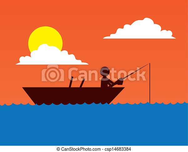 Fishing Boat Silhouette  - csp14683384