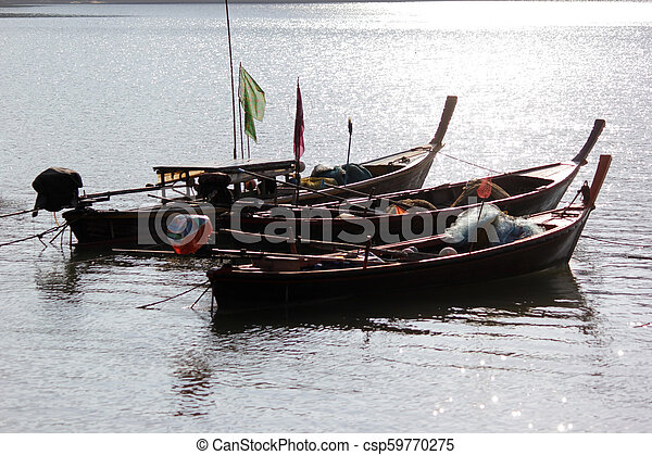 fishing boats in the sea - csp59770275