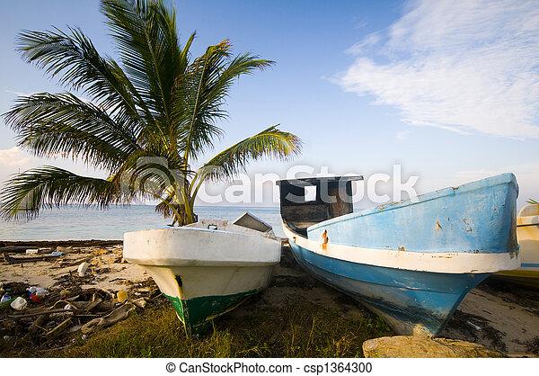 fishing boats on shore caribbean sea - csp1364300