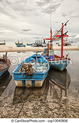 Fishing boats on shore - csp13040806