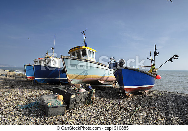Fishing boats on the beach at Beer in Devon - csp13108851