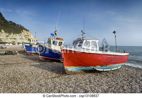 Fishing boats on the beach at Beer in Devon - csp13108837