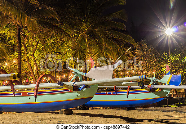 Fishing Boats On The Beach Of Tropical Island Bali At Night Indonesia Csp48897442