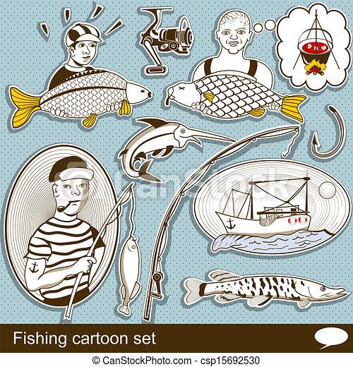 fishing cartoon set - csp15692530