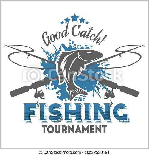 Fishing emblem, badge and design elements - csp32530191