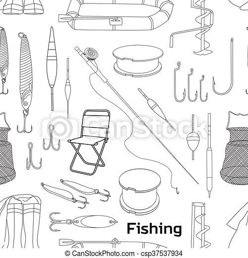 Fishing hand drawn pattern - csp37537934