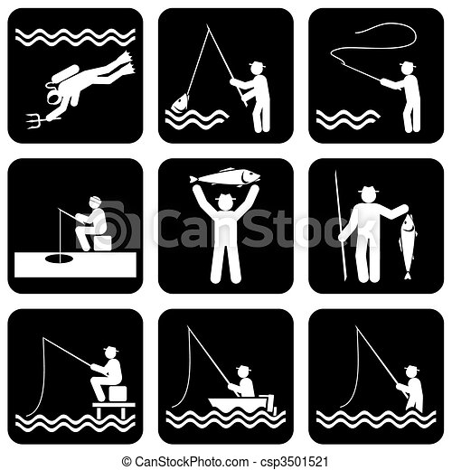 Fishing Icons Set Of Vector Silhouette Icons Of Fishing