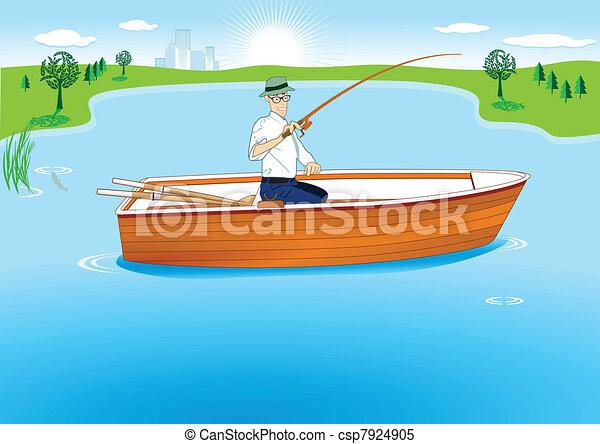 Fishing in Boat - csp7924905
