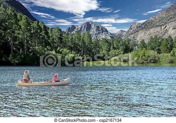 Fishing in the Sierra Mountain Lakes - csp2167134