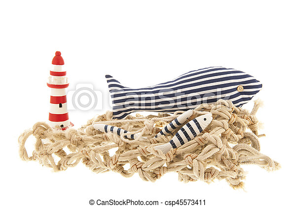 Fishing net with lighthouse - csp45573411