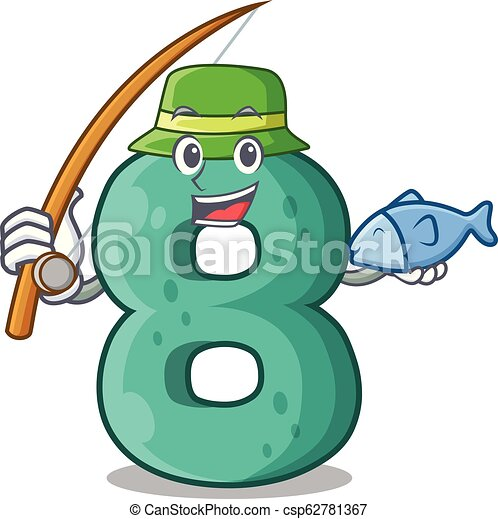 Fishing number eight made with cartoon shaped - csp62781367