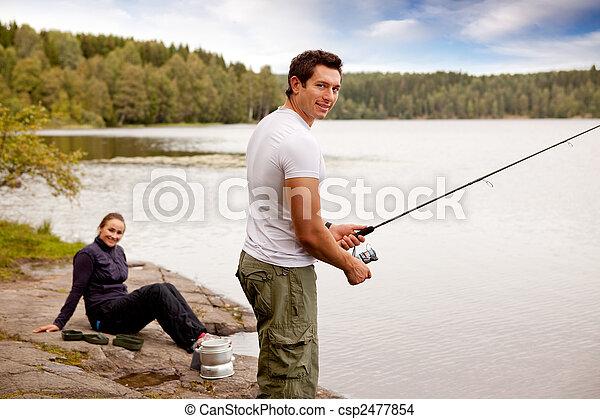 Fishing on Camping Trip - csp2477854