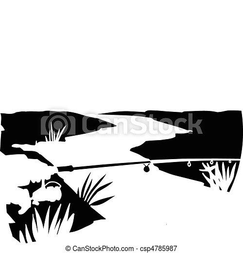 fishing on river vector illustratio - csp4785987