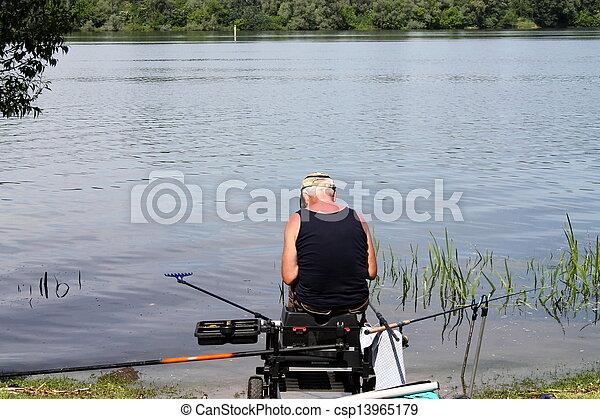 fishing on the lake - csp13965179