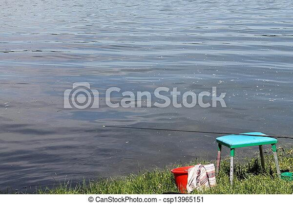 fishing on the lake - csp13965151