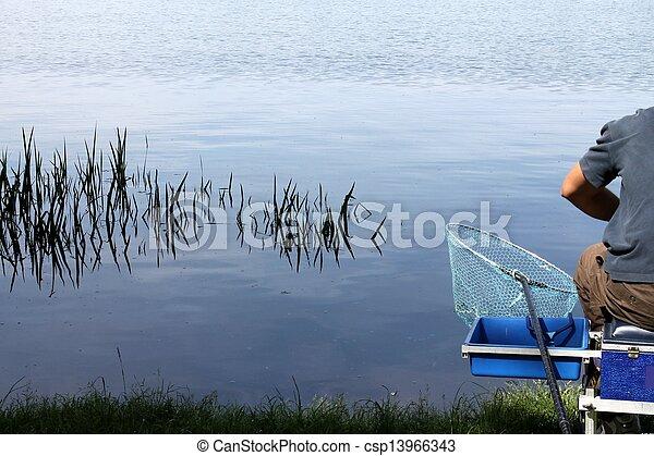 fishing on the lake - csp13966343