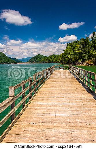 Fishing pier at Watauga Lake, in Cherokee National Forest, Tenne - csp21647591