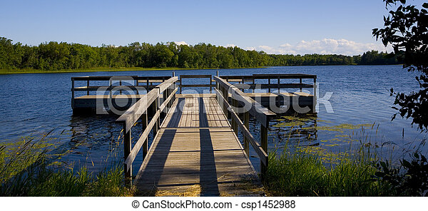 Fishing Pier in Blue Lake - csp1452988