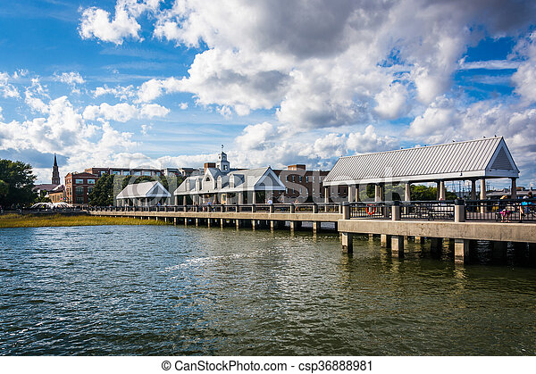 Fishing pier in Charleston, South Carolina. - csp36888981