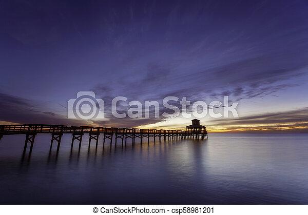 Fishing Pier in water - csp58981201