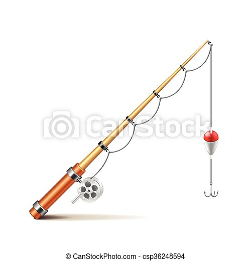 Fishing rod isolated on white vector - csp36248594