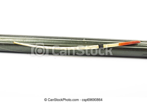 Fishing rod with float on a white background - csp69690864