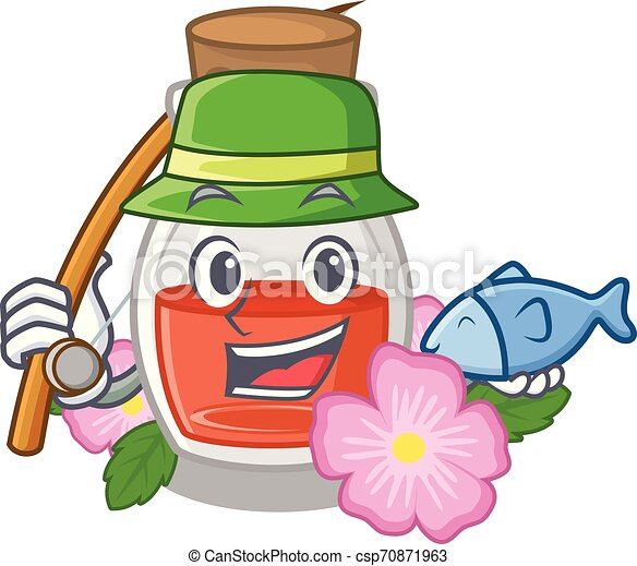 Fishing rose seed oil the cartoon shape - csp70871963