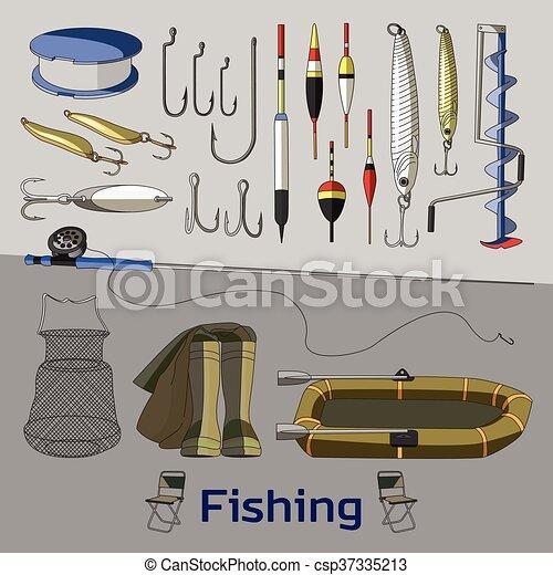 Fishing set icons - csp37335213