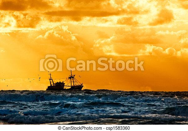 fishing ship at sea - csp1583360