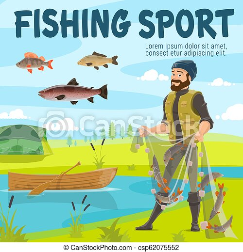 Fishing sport fisher and fish in net, vector - csp62075552
