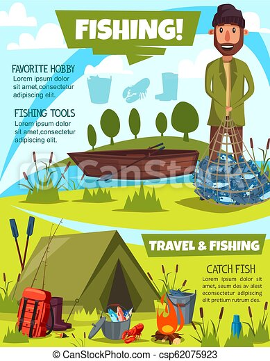 Fishing sport poster with fisherman and camping - csp62075923