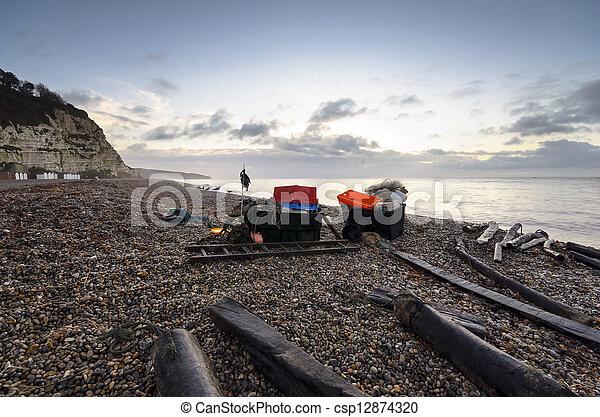 Fishing Stuff on the Beach in Devon - csp12874320