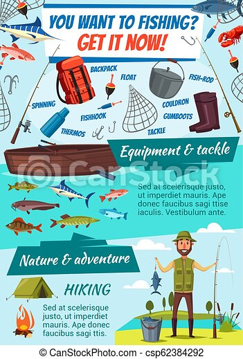 Fishing tackles and fisherman, fish catch vector - csp62384292