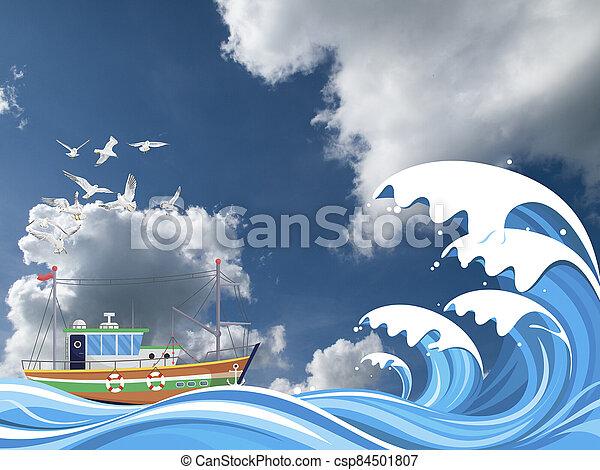 Fishing trawler boat at sea - csp84501807