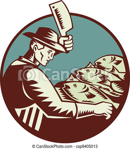 fishmonger butcher with meat cleaver knife chopping fish viewed from side set inside circle done in retro woodcut style. - csp9405013