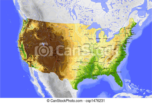 Stati Uniti Cartina Fisica E Politica.Cartina Usa Fisica