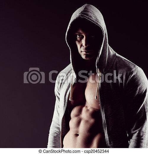 fisiculturista, encapuchado - csp20452344
