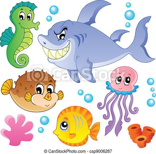 fiskar, djuren, 4, kollektion, hav - csp9006287