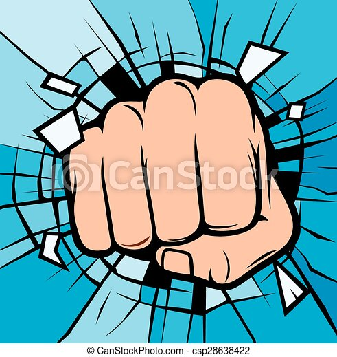 fist breaking through glass  - csp28638422