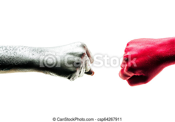 Fist bump, ?orporate ?olleagues, art teamwork concept. Business partners trust in team. Giving fist bump to greeting start up project. Color hands in cooperation - csp64267911