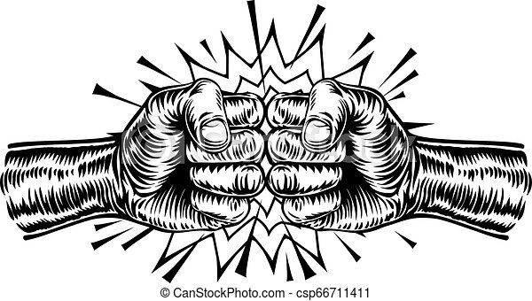 Fist Bump Punch An Illustration Of Two Hands In Fists Punching Each Other Or Fist Bumping In A Vintage Intaglio Woodcut