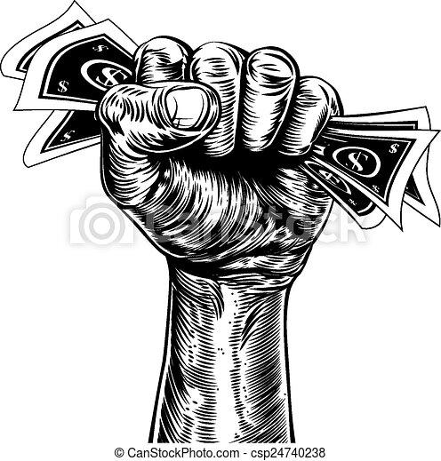 Fist holding money concept - csp24740238