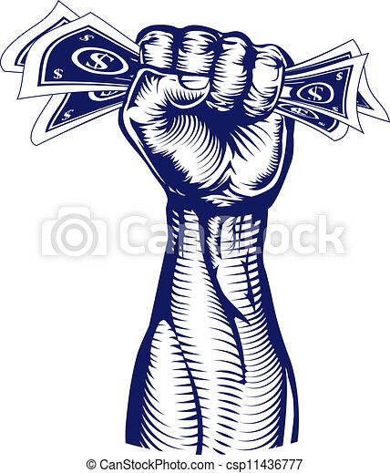 Fist holding up money - csp11436777