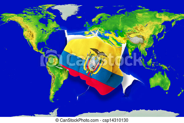 Fist In Color National Flag Of Ecuador Punching World Map Fist In