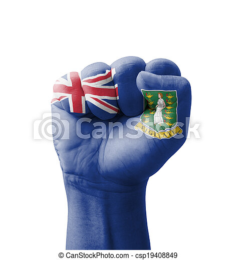 Fist of British Virgin Islands flag painted, multi purpose concept - isolated on white background - csp19408849
