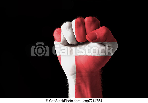 Fist painted in colors of denmark flag - csp7714754